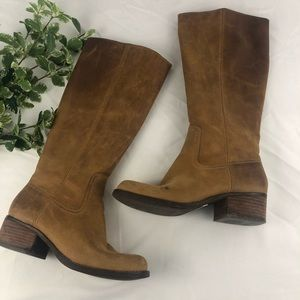 Very Volatile Brown Leather Tall Riding Boots